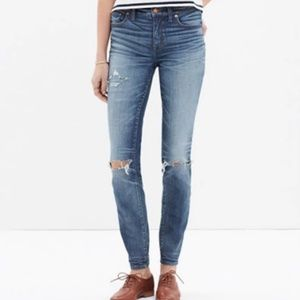 "Madewell 9"" high-rise skinny jeans: torn-knee edit"